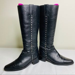 FRYE Black Leather Studded Boots
